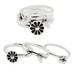5.48gms stackable charm rings 925 silver flower 3 rings size 6.5 c7713