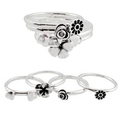 Stackable charm white topaz 925 sterling silver flower 4 rings size 7.5 c7718
