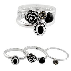Stackable charm rings black onyx topaz 925 silver flower 3 rings size 7.5 c7719