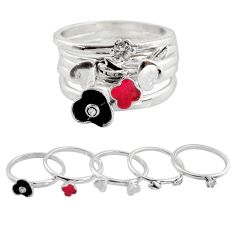 Stackable charm rings white topaz coral enamel 925 silver 5 rings size 7.5 c7720