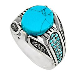 4.92cts fine blue turquoise 925 sterling silver mens ring jewelry size 10 c7726