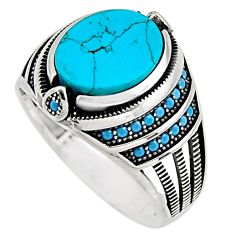 925 sterling silver 5.98cts fine green turquoise mens ring jewelry size 11 c7731
