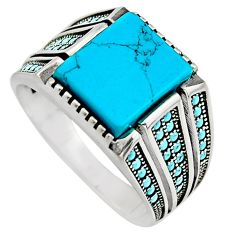 5.81cts fine blue turquoise 925 sterling silver mens ring size 11.5 c7732