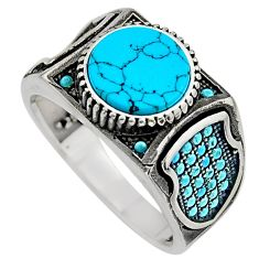 925 sterling silver 6.61cts fine blue turquoise mens ring size 11.5 c7735