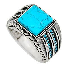 6.47cts fine blue turquoise 925 sterling silver mens ring size 10.5 c7737