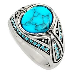 5.98cts fine blue turquoise 925 sterling silver mens ring size 11.5 c7738