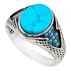5.28cts fine blue turquoise 925 sterling silver mens ring jewelry size 12 c7740