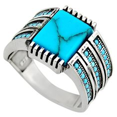 5.93cts fine blue turquoise 925 sterling silver mens ring size 11.5 c7746