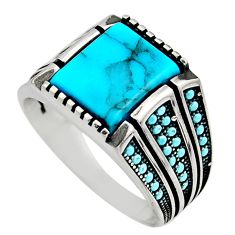 5.51cts fine blue turquoise 925 sterling silver mens ring size 11.5 c7747
