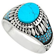 925 sterling silver 4.35cts fine blue turquoise mens ring size 10.5 c7748