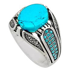 925 sterling silver 5.98cts fine blue turquoise mens ring jewelry size 11 c7751