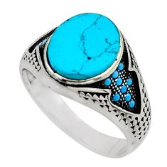 5.75cts fine blue turquoise 925 sterling silver mens ring size 10.5 c7752