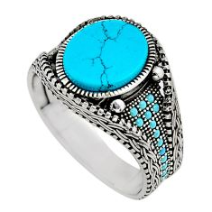 5.37cts fine blue turquoise 925 sterling silver mens ring size 11.5 c7754