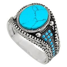 5.22cts fine blue turquoise 925 sterling silver mens ring jewelry size 11 c7756