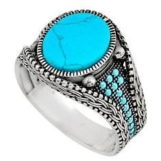 5.21cts fine blue turquoise 925 sterling silver mens ring size 11.5 c7757