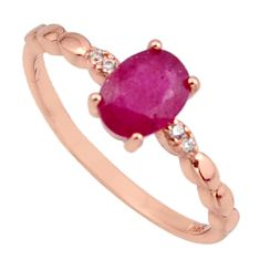 1.48cts natural red ruby cubic zirconia 925 silver 14k gold ring size 6 c7763
