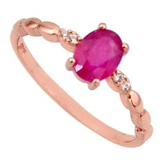 1.47cts natural red ruby cubic zirconia 925 silver 14k gold ring size 8 c7765