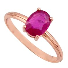 1.96cts natural red ruby cubic zirconia 925 silver 14k gold ring size 7 c7769