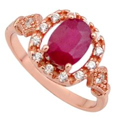 2.92cts natural red ruby cubic zirconia 925 silver 14k gold ring size 6 c7773