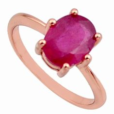 2.69cts natural red ruby cubic zirconia 925 silver 14k gold ring size 8 c7775
