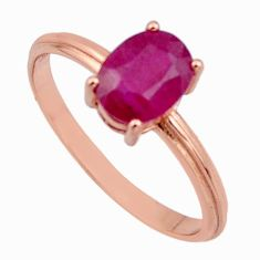 2.05cts natural red ruby cubic zirconia 925 silver 14k gold ring size 8 c7776
