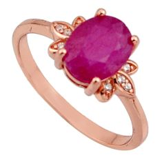 3.12cts natural red ruby cubic zirconia 925 silver 14k gold ring size 8 c7777