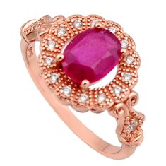 2.96cts natural red ruby cubic zirconia 925 silver 14k gold ring size 8 c7778
