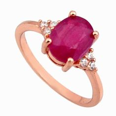 2.98cts natural red ruby cubic zirconia 925 silver 14k gold ring size 6.5 c7779