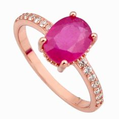3.44cts natural red ruby cubic zirconia 925 silver 14k gold ring size 8 c7780