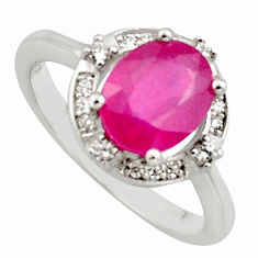 3.29cts natural red ruby cubic zirconia 925 sterling silver ring size 6 c7781