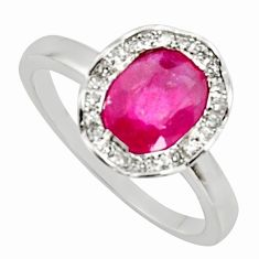 2.72cts natural red ruby cubic zirconia 925 sterling silver ring size 6 c7783