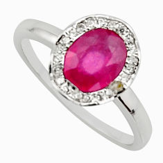 2.72cts natural red ruby cubic zirconia 925 sterling silver ring size 7.5 c7784