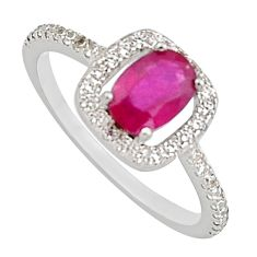 2.38cts natural red ruby cubic zirconia 925 sterling silver ring size 6.5 c7785