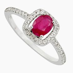 2.56cts natural red ruby cubic zirconia 925 sterling silver ring size 9 c7786