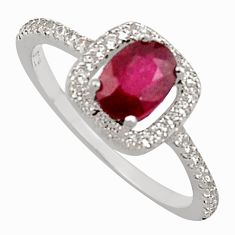 2.42cts natural red ruby cubic zirconia 925 sterling silver ring size 7 c7787