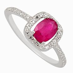 2.56cts natural red ruby cubic zirconia 925 sterling silver ring size 8 c7788