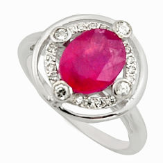 3.69cts natural red ruby cubic zirconia 925 sterling silver ring size 7 c7789