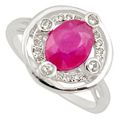 2.92cts natural red ruby cubic zirconia 925 sterling silver ring size 7 c7790