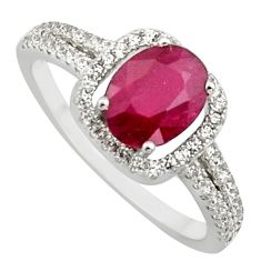 3.13cts natural red ruby cubic zirconia 925 sterling silver ring size 7.5 c7791