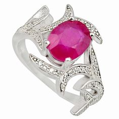 3.58cts natural red ruby cubic zirconia 925 sterling silver ring size 6.5 c7792