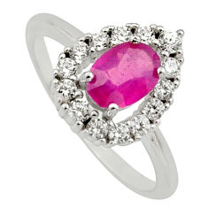 2.38cts natural red ruby cubic zirconia 925 sterling silver ring size 6 c7793