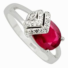 3.60cts natural red ruby cubic zirconia 925 sterling silver ring size 6.5 c7794