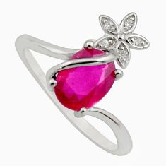 3.32cts natural red ruby cubic zirconia 925 silver flower ring size 8.5 c7795