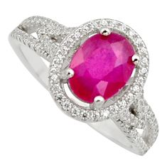 3.14cts natural red ruby cubic zirconia 925 sterling silver ring size 8 c7796