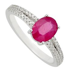 2.93cts natural red ruby cubic zirconia 925 sterling silver ring size 8 c7797