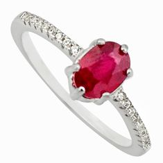 2.03cts natural red ruby cubic zirconia 925 sterling silver ring size 7 c7798