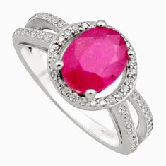 3.48cts natural red ruby cubic zirconia 925 sterling silver ring size 7 c7799