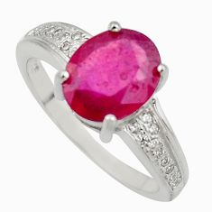 4.67cts natural red ruby cubic zirconia 925 sterling silver ring size 7.5 c7800