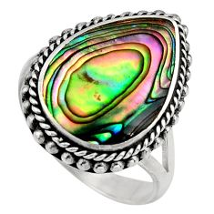 6.48cts natural abalone paua seashell 925 silver solitaire ring size 7 c7824