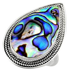 10.02cts natural abalone paua seashell 925 silver solitaire ring size 8 c7826